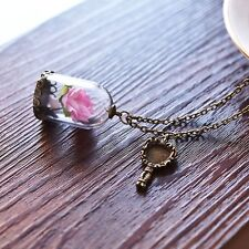 Fashion Jewelry Necklace Glass Bottle Pendant Real Dry Dried Flower Plant Pink