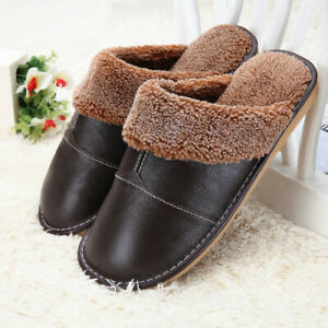 Mens Pu Leather Casual Lined Round Toe Mules Slides Winter Warm Slip On Slippers
