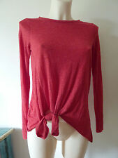 ZARA Long Top Tee Shirt Tie Knot Detail Red  Size Small
