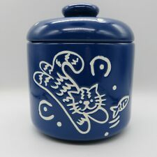 Blue Ceramic Kitty Cat Lidded Jar for Treats, Supplies LINENS N THINGS