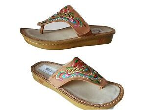 Alegria Women sandals thong  brown Vanessa Chrysalis embroidered Leather 8 38