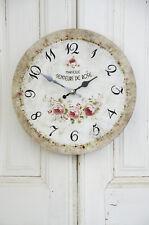 Clayre & Eef Wanduhr Rose Grün Uhr Clock Shabby Chic Vintage Landhaus