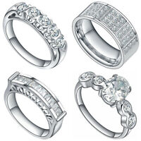 Women's Stainless Steel Cubic Zirconia Multi Stone Cocktail Engagement Ring