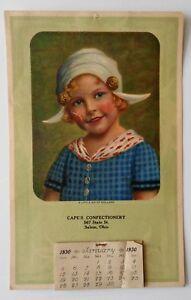 Original Advertising Calendar 1930 Cape's Confectionery Salem Ohio Dutch Girl