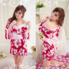 Costume Completo Fiori Vestaglia Kimono Giapponese Cosplay Japanese Fiocco Sexy