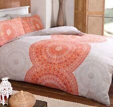 DOUBLE Duvet Set Orange Stone White Ethnic Moroccan Circles Cotton Rich NEW