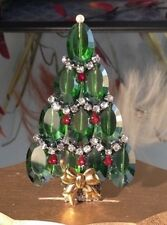 Vintage Rhinestone Christmas Tree Pin Brooch : Czech Glass Signed LaHeir