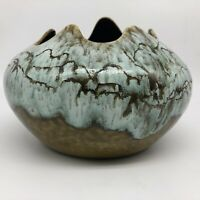 "Mid Century Pottery Bowl Planter Blue Green Drip Glaze over Olive Green, 8"" x 6"""