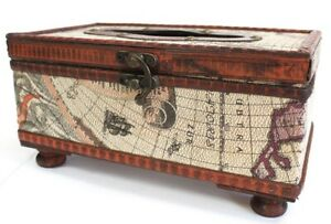 Wooden Tissue Box Cover Paper Napkin Holder Case Old Chest Style Map Gift Idea