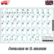 Spanish White Keyboard Stickers with White Letters for Laptop Computer PC