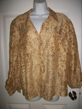 Ruby Rd. Women Brown & Gold Print Sheer Shirt Size 14