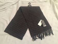 M&S Mens Navy Blue, Brown & Grey Pure Wool Checked Lambswool Scarf BNWT RRP £25