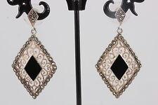 Thai Vintage Sterling Silver Filigree Black Onyx Hematite Stones Earrings 925