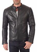 Noora Men's Genuine Lambskin Leather Jacket Slim fit Fall Biker Basic jacket S4