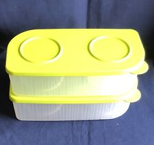 Tupperware Fresh N Cool Rectangle Set of 2 Clear with Lime Green Seals 1 L NEW