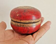 VINTAGE OLD  LACQUER PAINTED ROUND WOODEN  RED TRINKET BOX RICH PATINA B2