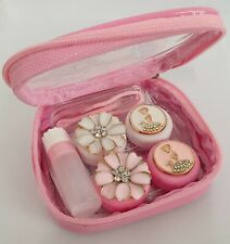 8 Piece Coloured Contact Lens Lenses Travel Kit Mirror Case Tweezers Pink Queen