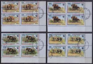 Elephants, WWF, Wild Animals, Cambodia 1997 MNH Cancelled4v Rt Lo Corner Blk