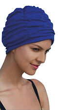 Ladies Swimming Hat Bathing Cap Adult Fashy Turban Style Blue