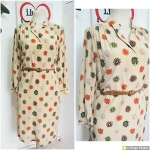 Vintage 1980s 80s Brown Plant Floral Print Silk Midi Shirt Dress size 14