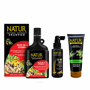 [NATUR] Herbal Aloe Vera Shampoo + Conditioner + Serum Thicken Grow Hair