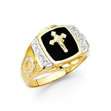 Horseshoe Cross Ring Solid 14k Yellow Gold Mens Band Black Onyx CZ Mens Fancy