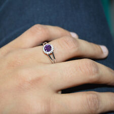 1/2CT EXCELLENT ROUND CUT AMETHYST 14K WHITE GOLD FN HALO RING SPECIAL DAY GIFT