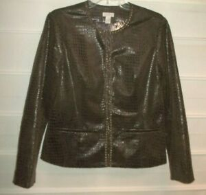 Chico's Brown Faux Snakeskin Metal Beaded LS Fully Lined Jacket Size 1 EC!