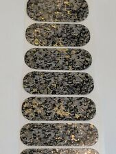 Jamberry Black Pearl Half Sheet Granite Stone Nail Wraps Metallic Marble Gold