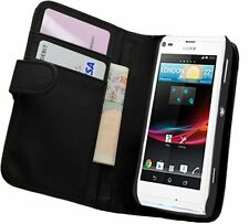 Black Leather Wallet Flip Case for Sony Xperia L (S36H) - Cover Pouch