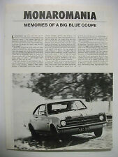 HOLDEN MONARO HK HT HG HQ HJ HX & HZ HISTORY MAGAZINE ARTICLE