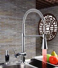 3 couleur Robinet de cuisine chrome LED mélangeur rotatif extraire mixer robinet