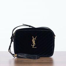 SAINT LAURENT PARIS 1250$ LOU Monogram Camera Bag In Navy Blue Quilted Velvet