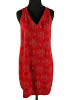 Gap Sz S Women's Red Vneck White Dot Print Sleeveless Shift Dress