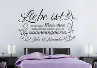 Liebe ist - zwei Menschen + Namen ♥ Hochzeit Wandspruch Wandaufkleber WandTattoo