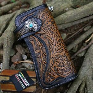 Men Genuine Leather Tan Carved Long Wallet With Biker Trucker Chain Purse ! !