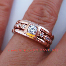Real Genuine Solid 9ct Rose Pink Gold Engagement Wedding Rings Simulated Diamond