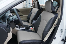 HONDA ACCORD 2013-2016 BLACK/GREY S.LEATHER CUSTOM MADE FIT FRONT SEAT COVER