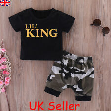 Infant Baby Boys Kids Summer Clothes LIL'S KING T-shirt+Camo Shorts Outfits Set