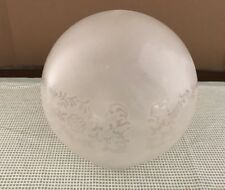 """4"""" fitter Satin Frosted Scroll Floral Etched Gas Oil Ball Lamp Shade"""