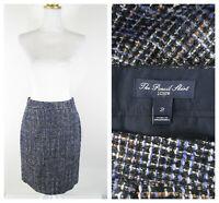 J. Crew Womens Metallic Knit Tweed The Pencil Skirt Size 2 Wool Blend