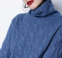 Women Twist High-Necked Knit 100% CashmereSweater Long Sleeve Loose Coat Tops