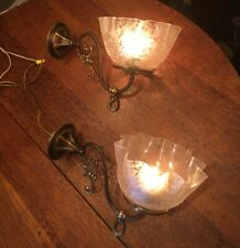 Antique Pair of 1890's Gas Wall Fixtures / Sconces – Deep Etched Shades