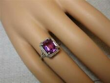 Art Deco Engagement Wedding Ring 14K Synthetic Ruby White Gold Filigree