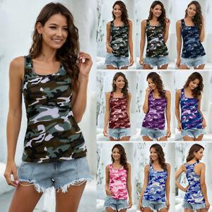 UK Womens Summer Vest Cami Blouse Tee Basic Loose Camo Holiday Shirt Ladies Tops