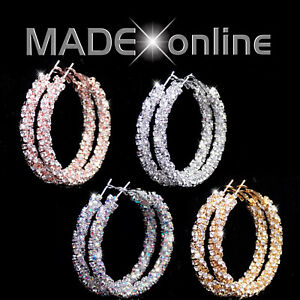 Very Sparkle Hoop Earrings, Gold, Rose Gold, Silver and AB, Big Bling Loops,
