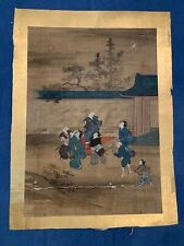 TOKUGAWA Period / ANCIENT JAPANESE HAND PAINTED ART UNIQUE BACK - 1050