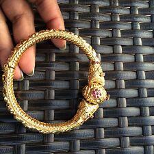 18k Gold Dragon Lion Head Bracelet Cuff Cartier Screw Style Ruby Panther Bangle