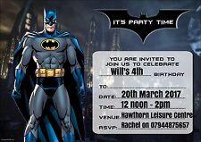 Personalised Birthday party invitations Batman 10,20,30,