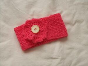 Ladies Hand Knit Coral Headband with Coral Crocheted Decoration & Lemon Button